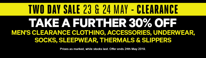 Take a Further 30% off Men's Clearance Clothing, Sleepwear, Underwear, Socks & Accessories