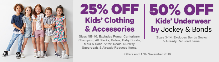 25% off Kids' Clothing & Accessories & 50% off Kids' Underwear by Jockey & Bonds