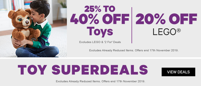 25-40% off Toys | 20% off Lego