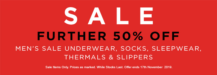 Further 50% off Men's Sale Underwear, Socks, Sleepwear, Thermals & Slippers