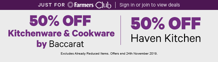 50% off Kitchenware & Cookware by Baccarat | 50% off Haven Kitchen