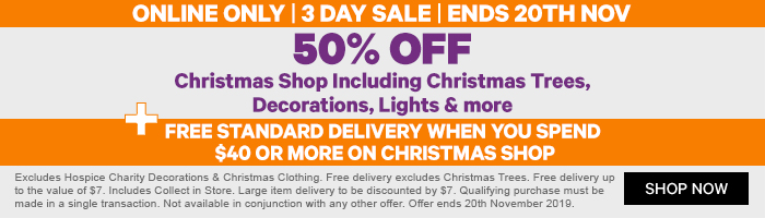 50% off Christmas Shop including Trees, Decorations, Lights & more