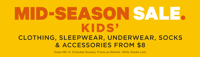 Kids' Mid Season Sale: Clothing from $8