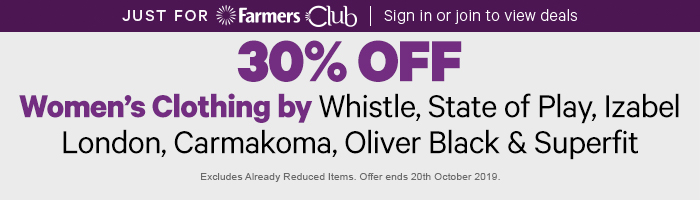 30% off Women's Clothing by Whistle, State of Play, Izabel London, Carmakoma, Oliver Black & Superfit