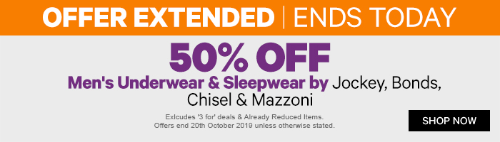 ENDS TODAY- 50% off Men's Underwear & Sleepwear by Jockey, Bonds, Chisel & Mazzoni