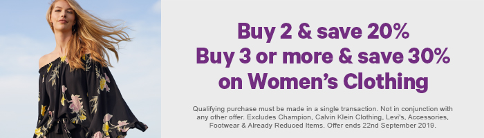 Buy 2 & Save 20% Buy 3 or more & Save 30% on Women's Clothing