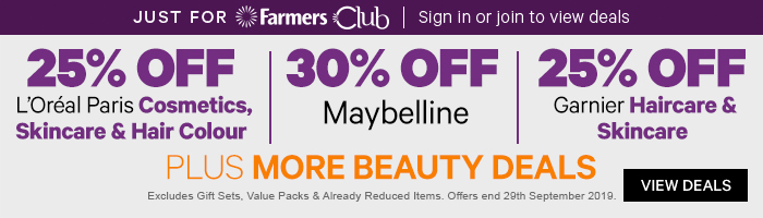 25% off L'Oreal Paris Cosmetic, Skincare & Hair Colour | 30% off Maybelline | 25% off Garnier Haircare & Skincare