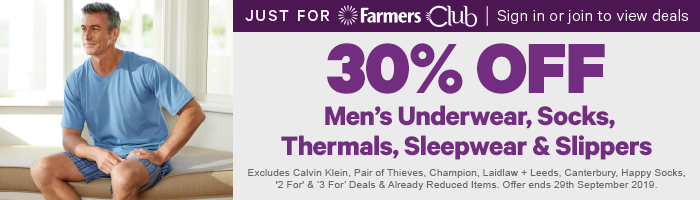 30% off Men's Underwear, Socks, Thermals, Sleepwear & Slippers