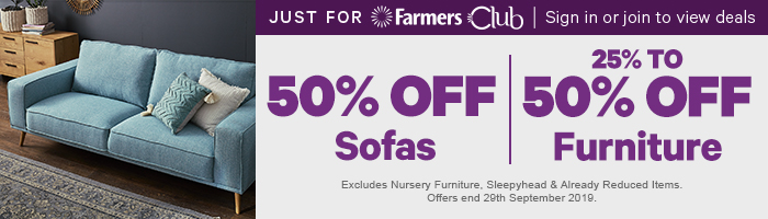 50% off Sofas | 25-50% off Furniture