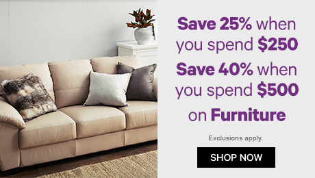 Save 25% when you spend $250, Save 40% when you spend $500 on Furniture