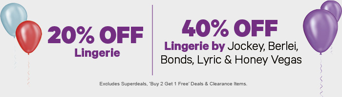 20% off Lingerie | 40% off Lingerie by Jockey, Berlei, Bonds, Lyric & Honey Vegas