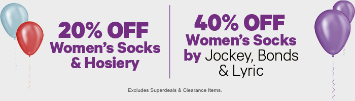 20% off Women's Socks & Hosiery | 40% off Socks by Jockey, Bonds & Lyric
