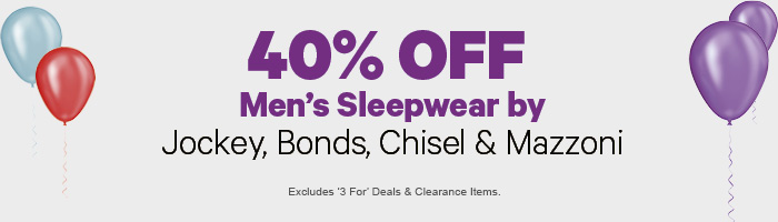 40% off Men's Sleepwear by Jockey, Bonds & Chisel