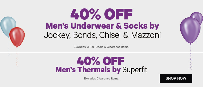 40% off Men's Underwear & Socks by Jockey, Bonds, Chisel & Champion | 40% off Men's Thermals by Superfit