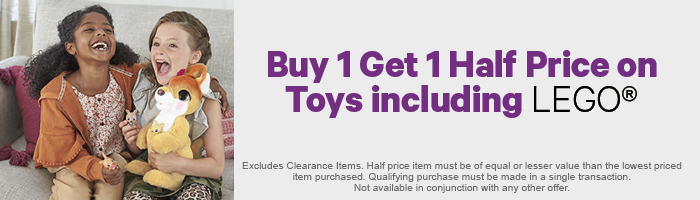 Buy 1 Get 1 Half Price on Toys including LEGO