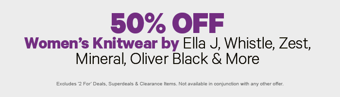 50% off Women's Knitwear by Ella J, Whistle, Zest, Mineral, Oliver Black & More