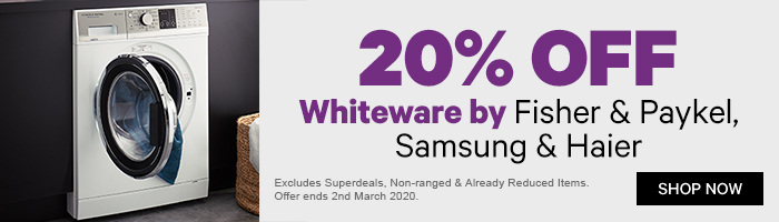 20% off Whiteware by Fisher & Paykel, Samsung & Haier