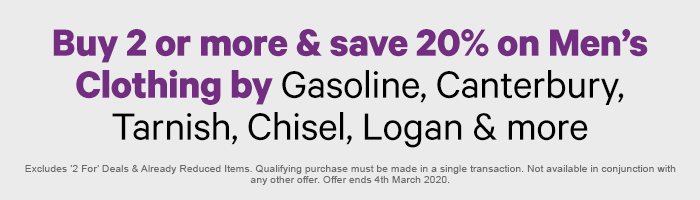 Buy 2 or more & save on Men's Clothing by Gasoline, Canterbury, Tarnish, Chisel, Logan & more