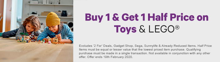 Buy 1 get 1 half price on toys and lego