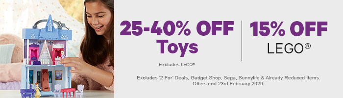 25-40% off toys, 15% off lego