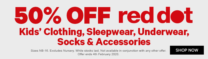 50% off Red Dot Kids' Clothing, Sleepwear, Underwear, Socks & Accessories