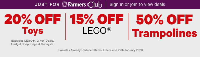 20 % Off Toys | 15% Off Lego | 50% Off Trampolines