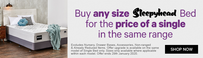 Buy any size Sleepyhead bed for the price of a single in the same range
