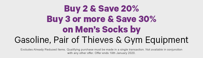 Buy 2 Save 20%, Buy 3 or more Save 30% on Men's Socks by Gasoline, Pair of Thieves & Gym Equipment