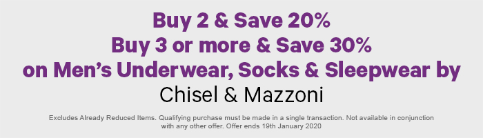 Buy 2 & Save 20%, Buy 3 or More & Save 30% on Men's Underwear, Socks & Sleepwear by Chisel & Mazzoni