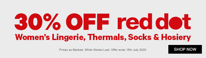 30% off Red Dot Women's Lingerie, Thermals, Socks & Hosiery
