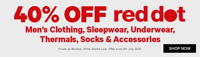 40% off Red Dot Men's Clothing, Sleepwear, Underwear, Thermals, Socks & Accessories