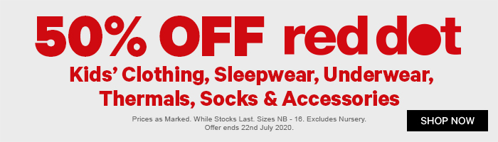 50% off Red Dot Kids' Clothing, Sleepwear, Underwear, Thermals, Socks & Accessories