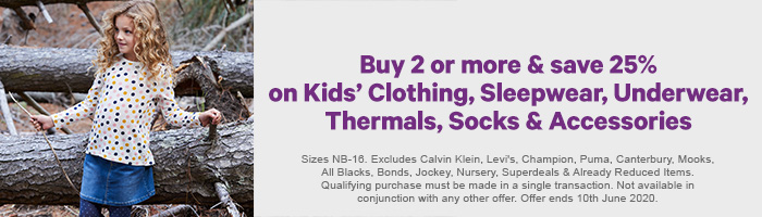 Buy 2 or more and save 25% on Kids' Clothing, Sleepwear, Underwear, Thermals, Socks & Accessories