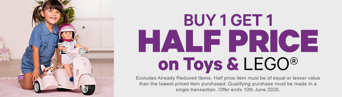 Buy 1 get 1 Half Price on Toys & Lego