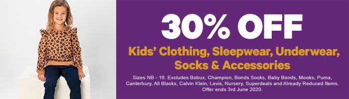 30% off Kids' Clothing, Sleepwear, Underwear, Socks & Accessories