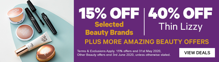 15% off Selected Beauty Brands|40% OFF Thin Lizzy