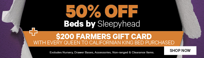 50% off Beds by Sleepyhead + $200 Farmers Gift Card with every Queen to Californian King Bed purchased