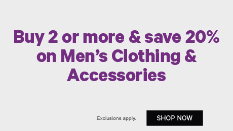 Buy 2 or more & save 20% on Men's Clothing & Accessories