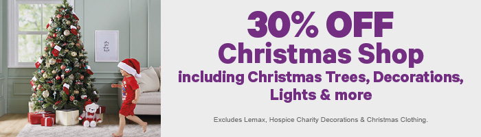 30% off Christmas Shop including Christmas Trees, Decorations, Lights & more