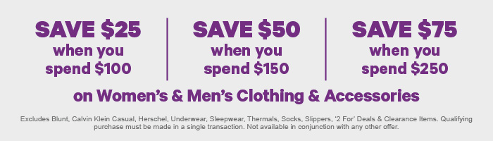 Spend & Save on Women's & Men's Clothing & Accessories