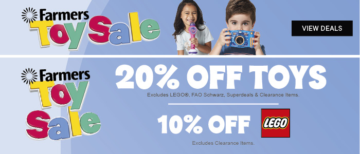 Farmers Toy Sale on now | 20% off Toys | 10% off Lego