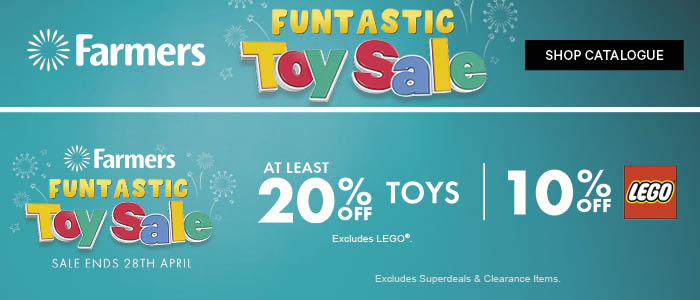 AT LEAST 20% off Toys | 10% off LEGO® | Farmers Funtastic Toy Sale
