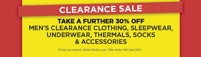 Take a Further 30% off Men's Clearance Clothing, Sleepwear, Underwear, Thermals, Socks & Accessories