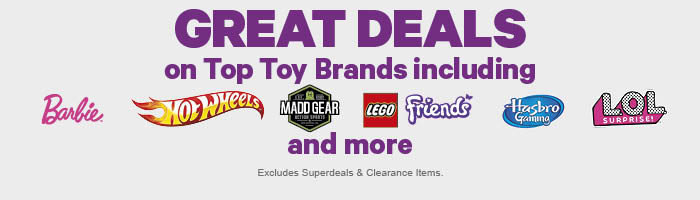 GREAT DEALS on Top Toys Brands including Barbie, Hot Wheels, Madd Gear, LEGO® Friends, Hasbro Gaming, LOL Surprise & more