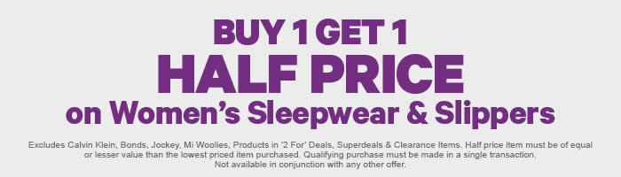 Buy 1 Get 1 Half Price on Women's Sleepwear & Slippers
