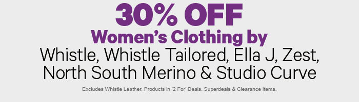 30% off Women's Clothing by Whistle, Whistle Tailored, Ella J, Zest, North South Merino & Studio Curve