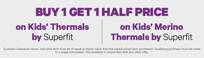 Buy 1 get 1 Half Price on Kids' Thermals by Superfit | on Kids' Merino Thermals by Superfit