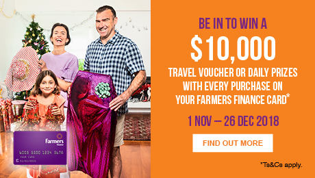 Be in to win a $10,000 Travel Voucher or Daily Prizes with every purchase on your Farmers Finance Card