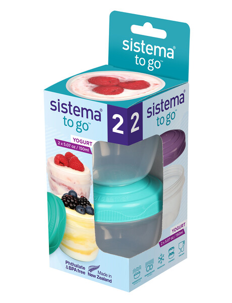 Sistema To Go Yoghurt Pods, Set-of-2, 150ml, Assorted Colours product photo