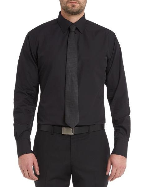 Van Heusen Long-Sleeve Plain Shirt, Euro Fit, Black product photo